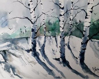 ORIGINAL painting watercolor painting original WATERCOLOR Birch Tree Art/jim lagasse/watercolor original/BIRCH trees/Silver Birches