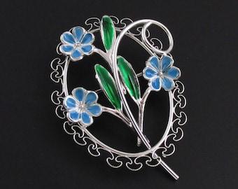 Beau Sterling Silver Brooch, Silver Enameled Brooch, Beau Sterling Brooch, Scalloped Brooch, Flower Brooch, Blue Brooch