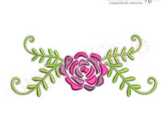 Spring Flower with Leafy Flourish  -Instant Download Machine Embroidery Design
