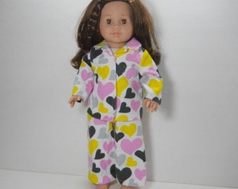 18 inch doll clothes made to fit dolls such as American Girl®, Yellow, Black and Pink Heart Pajamas, 04-0188