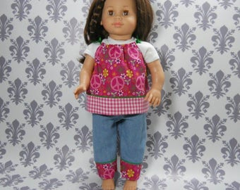 18 inch doll clothes, Three Piece Outfit, t-shirt, Pants and Top, 04-2010