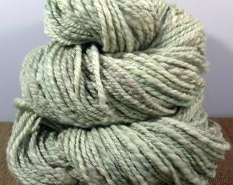 "Handspun Merino Yarn, ""Swirled Mint"" , Hand Dyed Wool Yarn, Worsted Weight Yarn"