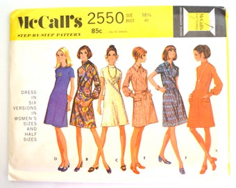 Vintage 1970's McCall's 2550 Women's Dress in Six Versions Size 18.5 UNCUT
