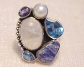 Sterling Moonstone Amethyst Pearl Topaz Ring Sz 9 Ring Statement Ring Womens Ring Multistone Ring Natural Ring Large Ring