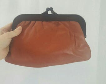 Vintage 190s Rust Colored Leather and Lucite Clutch