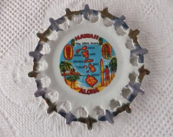Vintage Hawaii State Decorative Collector Plate Small Blue and Gold Cutout Edge Aloha 50th Travel Islands
