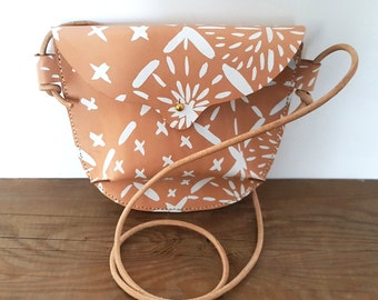 Hand Stitched Leather Small Crossbody Bag in Big Sashiko in White