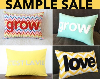 SAMPLE SALE • grow pillow • love pillow • cest la vie pillow • chevron pillow