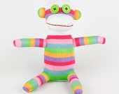 Super Deal  Handmade Pink Striped Sock Monkey Stuffed Animal Doll Baby Toys