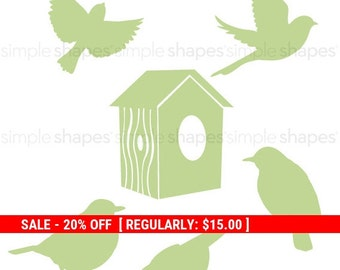 Holiday Sale - Additional Set of Birds and Birdhouse for Shelving Tree Wall Decal