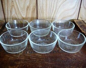 6 Custard Bowls Fire King - Anchor Hocking Custard Cups 6 oz Vintage Fire King