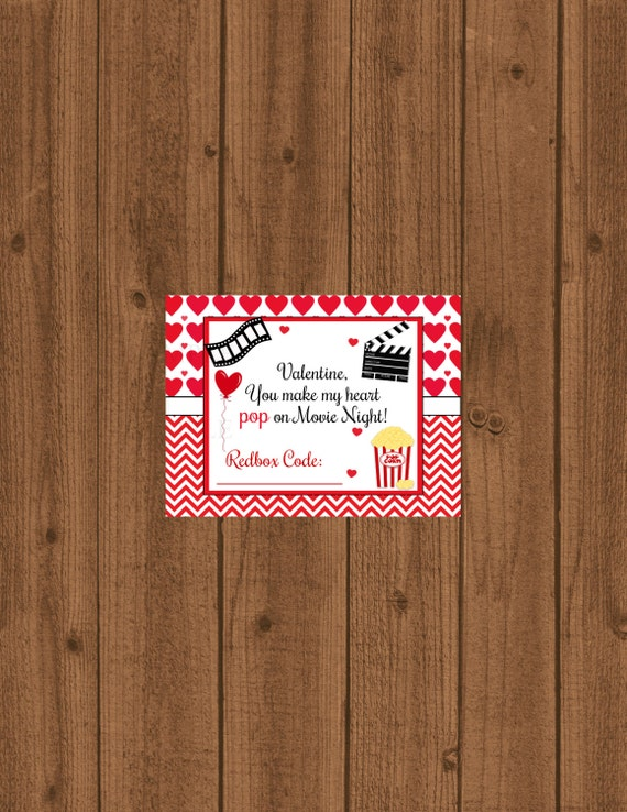 Redbox Printable Instant Download, Redbox Gift Tag, Movie ...