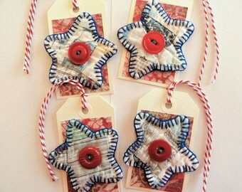 4 Star gift tags, primitive quilt hang tags, scrapbooking, handmade rustic package ties, vintage quilt, homespun gift wrap supply, twine