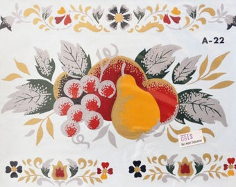 4 Fruit decals vintage Decorcal decals, flowers handpainted, original package with instructions, colonia home decor, gold and silver accents