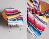 Vintage Mexican Serape Blanket - Pink Yellow Blue White Striped Stripe Fringe Fiesta Pop of Color Beach Blanket Soft Summery Boho Bohemian