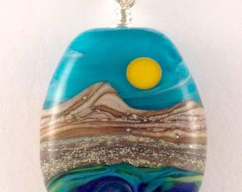 Ocean - Handmade Lampwork Glass Bead Pendant