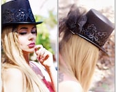 Stevie Nicks style Top Hats, Spell n gypsy black hat, Steampunk top hat, embellished sequin rose black tophat victorian True rebel clothing