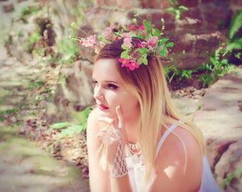 Festival Hair wreath, Bohemian Gypsy Headband, pink floral woodland crown, Boho chic style charm, gypsy fairy crown, True rebel clothing