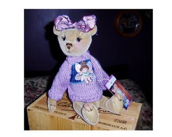 collectable Artist Teddy 13inch  Viola moahir, jointed, glass eyes,OOAK SALE