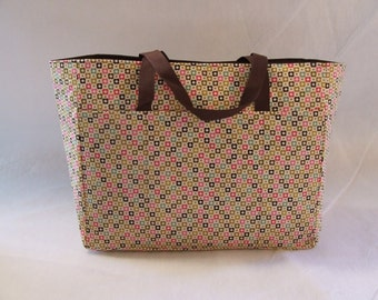 Accessory Bag / Small flower print fabric / Scrapbooking  Accessory Bag / Brown, pink, green, gold small flower print / READY TO SHIP!