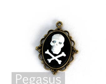 Pirate cross bones BLACK and WHITE Cameo Pendant (3 pieces)(18x25mm) for necklace jewelry,keepsake gift,gothic lolita,victorian cosplay