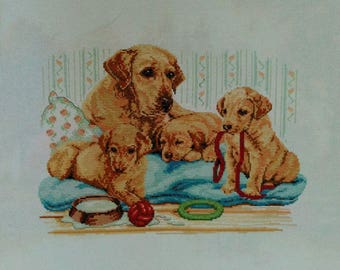 New Finished Completed Cross Stitch - Labrador Family - A45