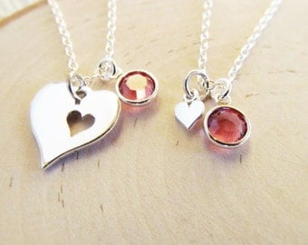 Personalized Mother Daughter Necklace, Sterling Silver Heart Necklaces Set of 2, Mother Daughter Jewelry with Birthstones, Mom from Daughter