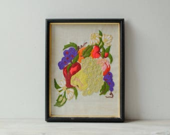 Vintage Embroidered Fruit Wall Art, Mid Century Embroidery Art