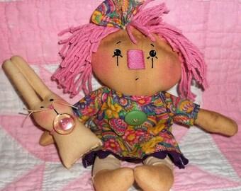 AnNiE & BaiLeY BuNNy Easter Doll set Handmade Primitive Raggedy Ann/Annie and Bunny Rabbit Hafair