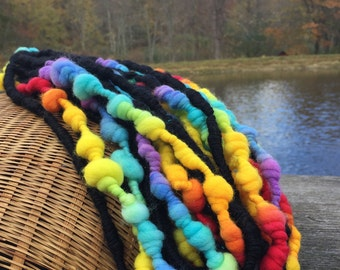 Handspun rainbow yarn with coils and beehives - 12 yards, 4.3 ounces/122 grams