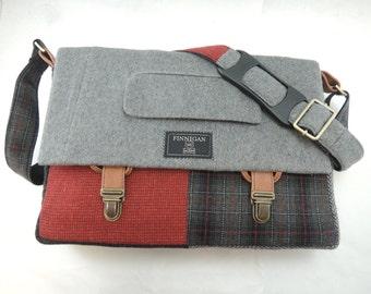 "Laptop bag, 13"" Macbook pro, Messenger bag, Mens Messenger Bag, Laptop Sleeve, Vintage, Wool, Trunk Latch,Recycled Suit Coat"