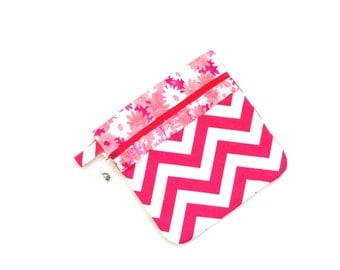 Project zipper pouch bag hot pink chevron, sewing craft bag for needlepoint, crochet crewel work, cross stitching projects, Mothers day gift