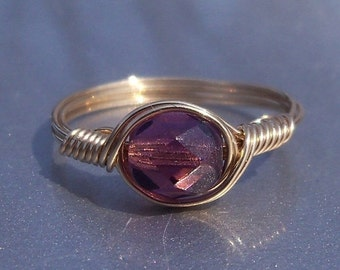 15% OFF SALE Amethyst Czech Glass Argentium Sterling Silver or 14k Yellow Gold Filled Wire Wrapped Ring