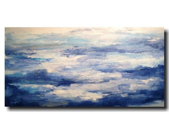 Large abstract  painting  - Oil painting - blue - 24 X 48 Inches-by JMJartstudio-Taking A Stand -Wall art -