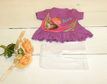 Lilac Coloured Frilly Dress and White Leggings - 14 - 15 inch doll clothes