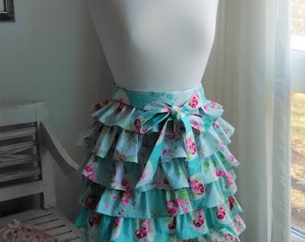 Aqua Tiered Ruffled Apron Sweet Little Aqua Pink and White Medallions  Pin Dots and Roses All Cotton Fabrics