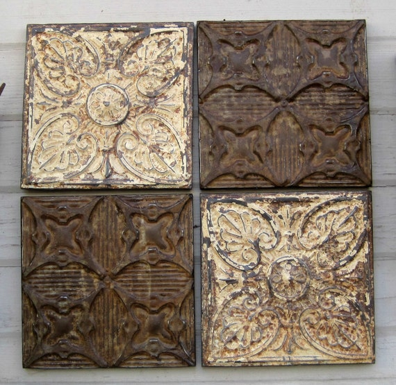 Antique Ceiling Tin Tiles Set Of 4 Framed Rustic Amp Chippy