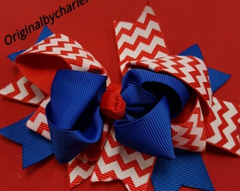 Boutique Royal with Red and White Chevron Hairbow