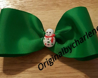 Boutique Smiling Snowflake Snowman Christmas Hairbow