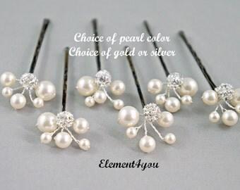 Bridal ivory hair pins, Wedding accessories, Bridesmaid gifts, Clustered pins, Chignon hair decor, Wedding hair up do, Hair bun clips