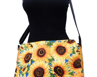 "USA Handmade Netbook bag Style with ""SUNFLOWERS"" Pattern Messenger bag With Adjustable Handle Purse, Cotton, New"