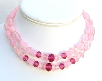 Lucite Necklace is Pink, 2 Strand, Choker, Raspberry Pink, Wedding, Vintage