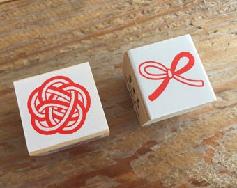 Pretty Japanese Mizuhiki Wooden Rubber Stamp for cards, tags invitations making, scrapbooking, packaging