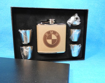 BMW Deluxe Leather Flask Gift Set - Great Christmas gift for a BMW Owner!