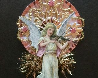 Vintage Look Angels Christmas Ornament Victorian -1907 German Postcard Angel,German Dresdens,Spun Glass,German Tinsel,Vintage Reflector