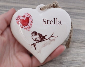 Custom name ornament, Personalized heart, heirloom ceramic ornament with name, custom Christmas ornament