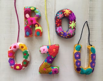 Mexican  Embroidered Alphabet Letters for Pompoms and Tassels
