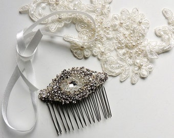 Rose Vintage Inspired Wedding Bridal Crystal Rhinestone Beaded Hair Comb