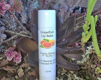 ON SALE Grapefruit Lip balm .15 oz, Natural lip balm, chapped lips, best lip therapy, best grapefruit lip balm, chapped lip remedy, best lip
