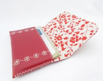 Red Leather Wallet / Leather Business Card Holder / Red Leather and Cotton Lining